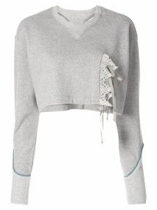 Facetasm lace trim cropped sweater - Grey