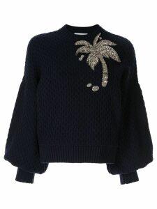 Dice Kayek Embellished Palm Tree jumper - Blue