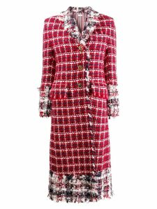 Thom Browne Gun Club Check Tweed Overcoat - Red