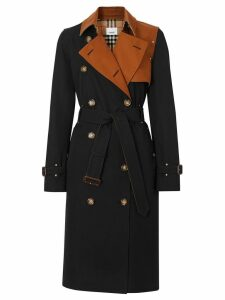 Burberry Two-tone Cotton Gabardine Trench Coat - Black