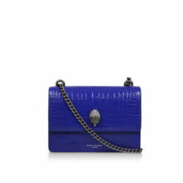 Kurt Geiger London Shoreditch Croc Cross Body - Purple Leather Croc Effect Cross Body Bag