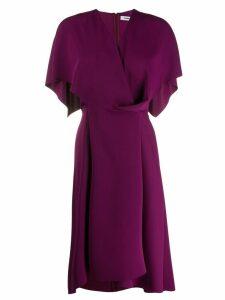 Chalayan cape detail midi dress - Purple