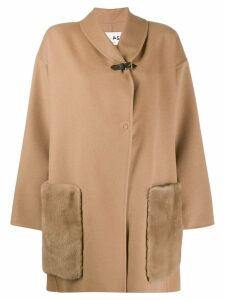 Manzoni 24 mink trim oversized coat - Neutrals