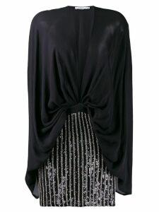 Amen deep V-neck party dress - Black
