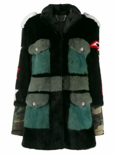 Philipp Plein camo lined parka coat - Black
