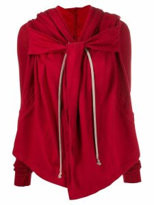 Rick Owens DRKSHDW draped hooded sweatshirt - Red