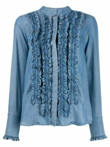 Steffen Schraut ruffled denim shirt - Blue