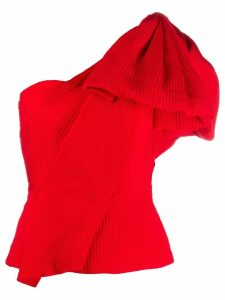 Roland Mouret asymmetric ruffle sleeve top - Red