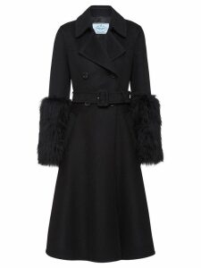 Prada furry cuff coat - Black