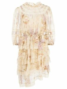 Zimmermann sabotage floral print dress - Neutrals