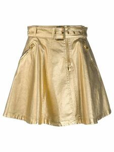 Moschino A-line belted skirt - Gold