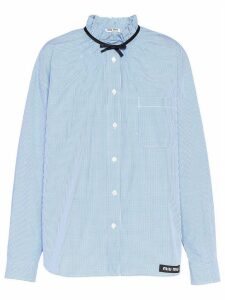 Miu Miu bow detail gingham shirt - Blue