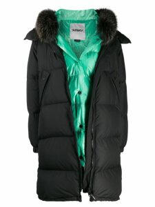 Yves Salomon layered fox fur trim coat - Black