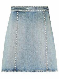 Miu Miu crystal embellished denim skirt - Blue