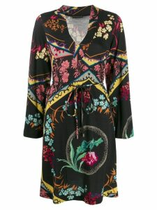 Etro patterned long sleeve dress - Black