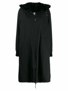 Yves Salomon fur trim oversized coat - Black