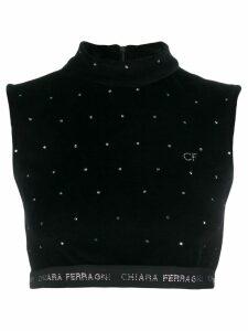 Chiara Ferragni logo cropped sweater top - Black