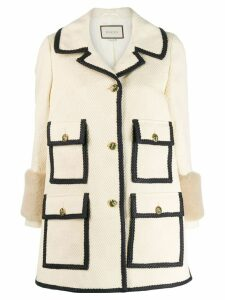 Gucci single-breasted trimmed coat - Neutrals