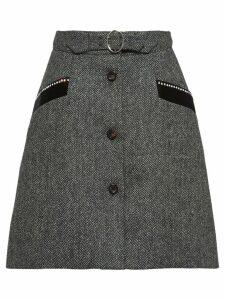 Miu Miu chevron shetland skirt - Grey