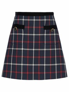Miu Miu checked A-line skirt - Blue
