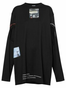 Burberry Cut-out Detail Montage Print Oversized Top - Black