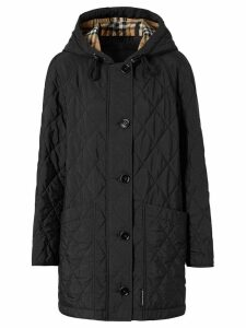 Burberry Diamond Quilted Thermoregulated Hooded Coat - Black