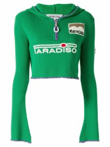 Ground Zero hooded cropped jumper - Green