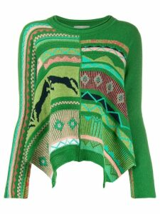 High by Claire Campbell long sleeve patterned jumper - Green