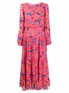 Saloni floral print midi dress - Pink