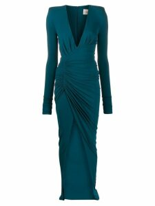 Alexandre Vauthier front slit draped dress - Blue