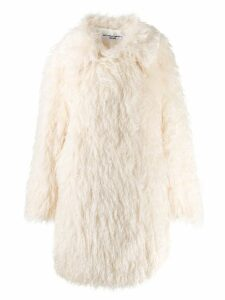 Katharine Hamnett London Samantha long shaggy coat - White