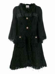 Edward Achour Paris lace panel coat - Black