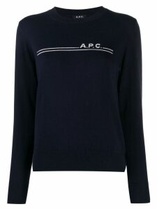 A.P.C. logo striped jumper - Blue