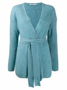 Agnona tie waist cardigan - Blue