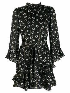 Saloni ruffled printed dress - Black