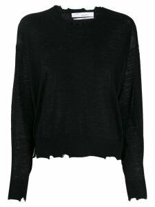 Iro distressed wool knit top - Black