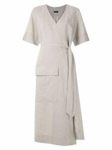 Osklen Wrap Natural Rustic midi dress - Grey
