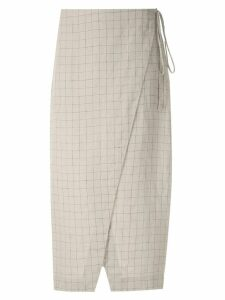 Osklen Sand Grid linen skirt - Grey