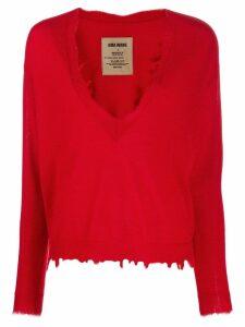 Uma Wang distressed cashmere jumper - Red