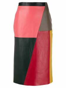Eudon Choi colourblock leather midi skirt - Neutrals