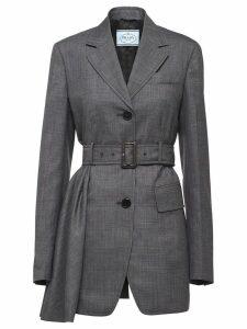 Prada belted long blazer - Grey