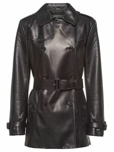 Prada leather peacoat - Black