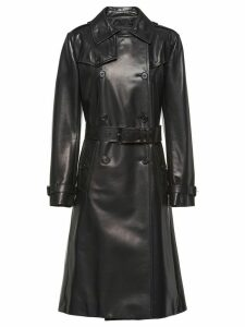 Prada double breasted leather coat - Black