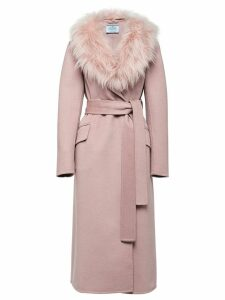 Prada fur collar mid-length coat - PINK