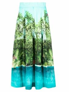 Isolda printed midi skirt - Blue