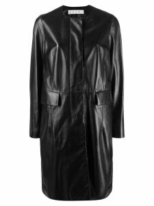 Marni leather overcoat - Black