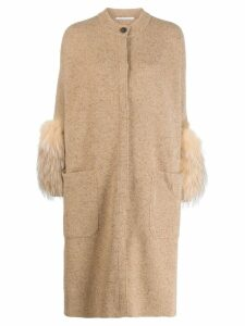 Agnona fur lined cardi-coat - Neutrals