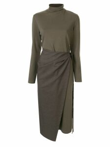 Goen.J overlay wrap dress - Green
