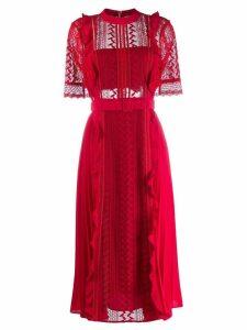 Self-Portrait lace panel dress - Red