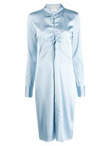 Bottega Veneta ruched cut-out shirt dress - Blue